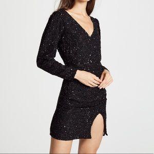 Retrofete Jamie Sequin Black Mini Dress Size Small